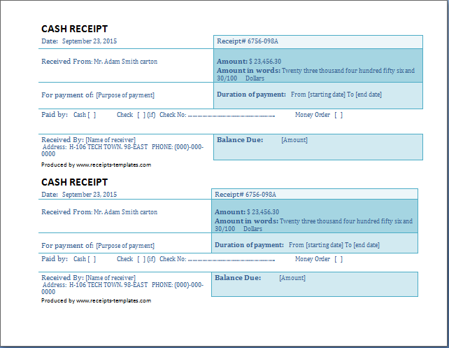 cash receipt template full size