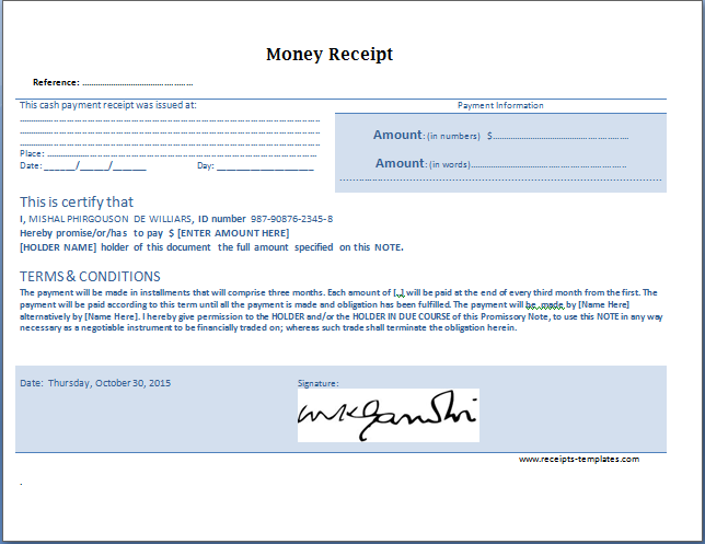 Money Receipt Templates for MS Word Excel – Money Receipt