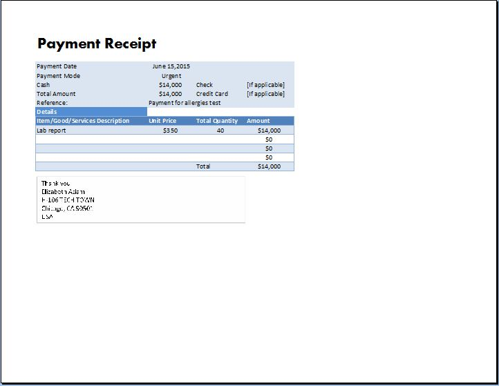 MS Excel Payment Receipt Template  Formal Receipt Template