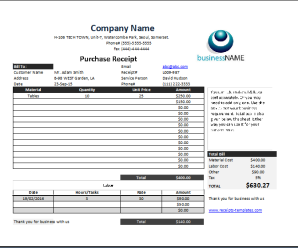 Product Purchase Receipt Template
