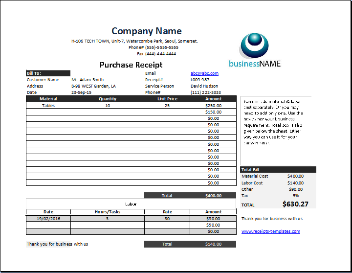 Product Purchase Receipt Template | Receipt Templates