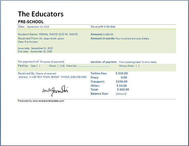 school fee receipt template microsoft