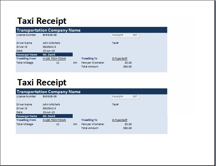 MS Excel Taxi Receipt Template – Taxi Bill Format in Word