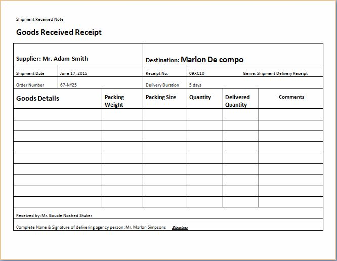 Shipment delivery receipt templates for ms excel receipt for Excel shipping tracking template