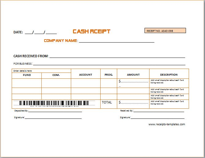 Sample Advance Receipt Template – Cash Receipt Sample