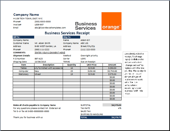 MS Excel Business Services Receipt Template | Receipt Templates