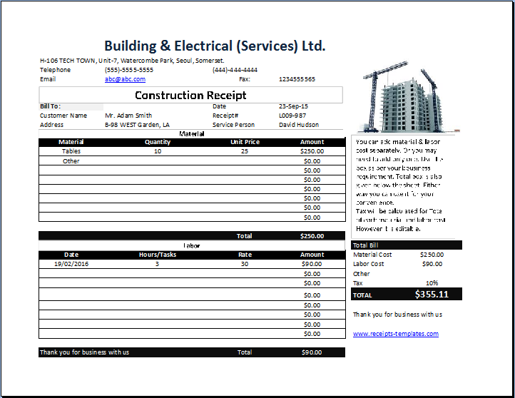 Construction Receipt Template Free on repair list