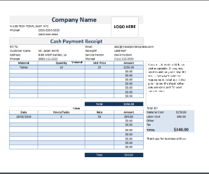 Customer Cash Payment Receipts