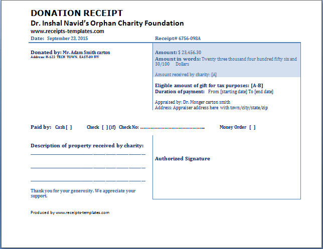 Donation Receipt Template Free | Receipt Templates