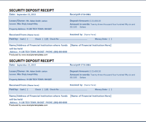 Security Deposit Receipt Template