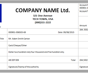 Cash Deposit Receipt Template