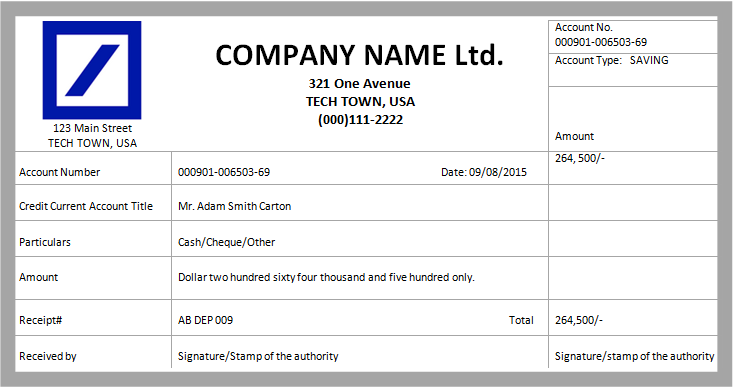 MS Word Cash Deposit Receipt Template – Company Receipt