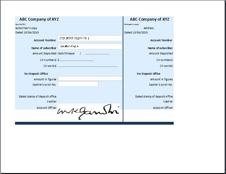 Sample Account Receipt Template