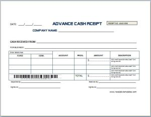 Sample Advance Receipt Template | Receipt Templates