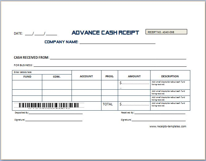 Advance Cash Receipt Template  Payment Received Format