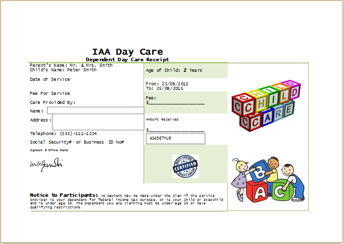MS Word Printable Daycare Receipt Template | Receipt Templates
