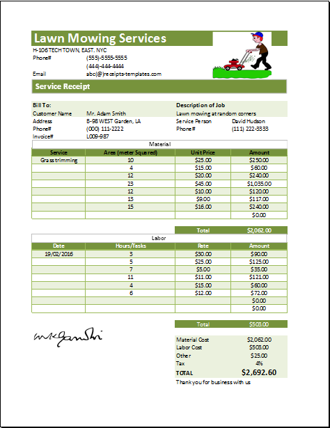Ms Excel Printable Lawn Mowing Receipt Template Receipt