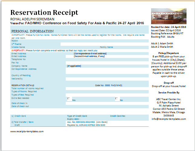 Printable formal reservation receipts templates receipt for The hotel reservation