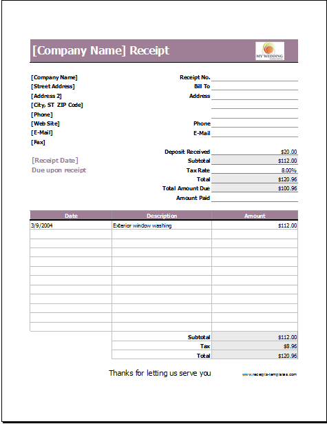 Wedding Services Receipt Template for EXCEL | Receipt Templates