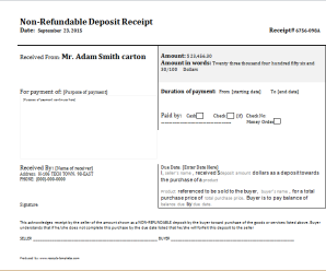 Non Refundable Deposit Receipt