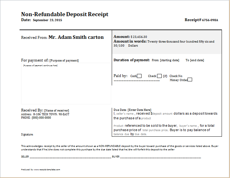 Non Refundable Deposit Receipt Template – Down Payment Receipt Form