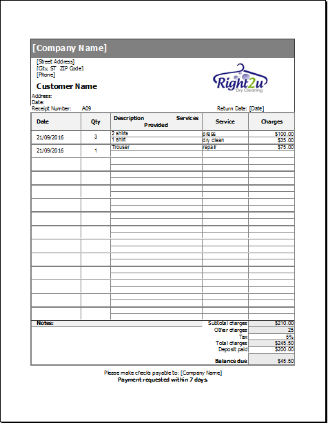 dry cleaning receipt template for excel receipt templates