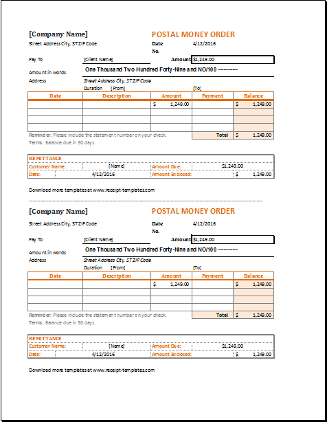 Money order receipt template for excel receipt templates for Fake money order template