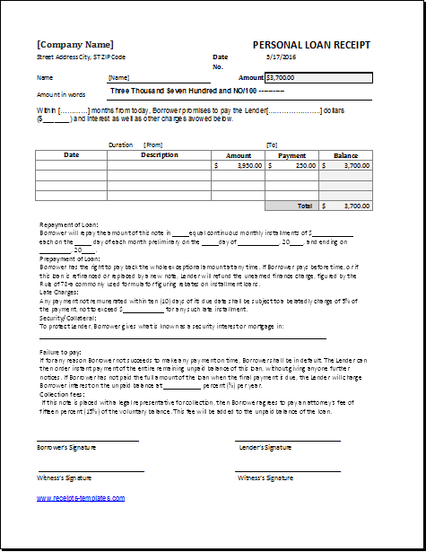 personal loan receipt template for excel receipt templates