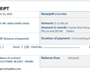 Cash Receipts for MS Word & Excel