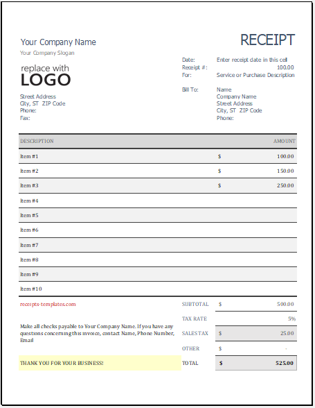 Goods Purchase Receipt Template for Excel
