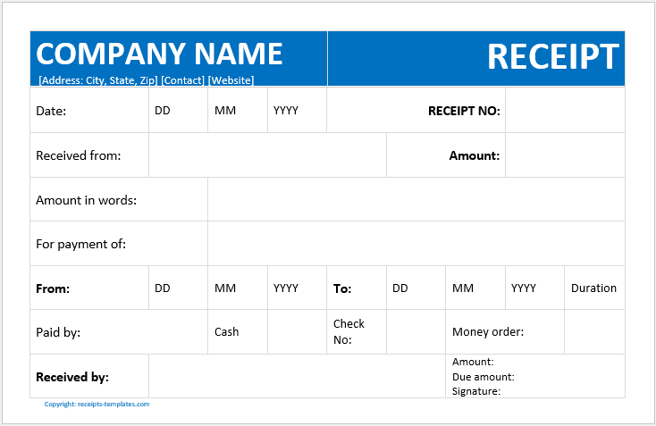 Billing Receipt Template
